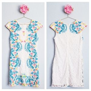 Francescas Bright Floral Embroidered Lace Dress